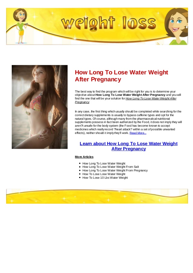 how long to lose water weight photo - 1