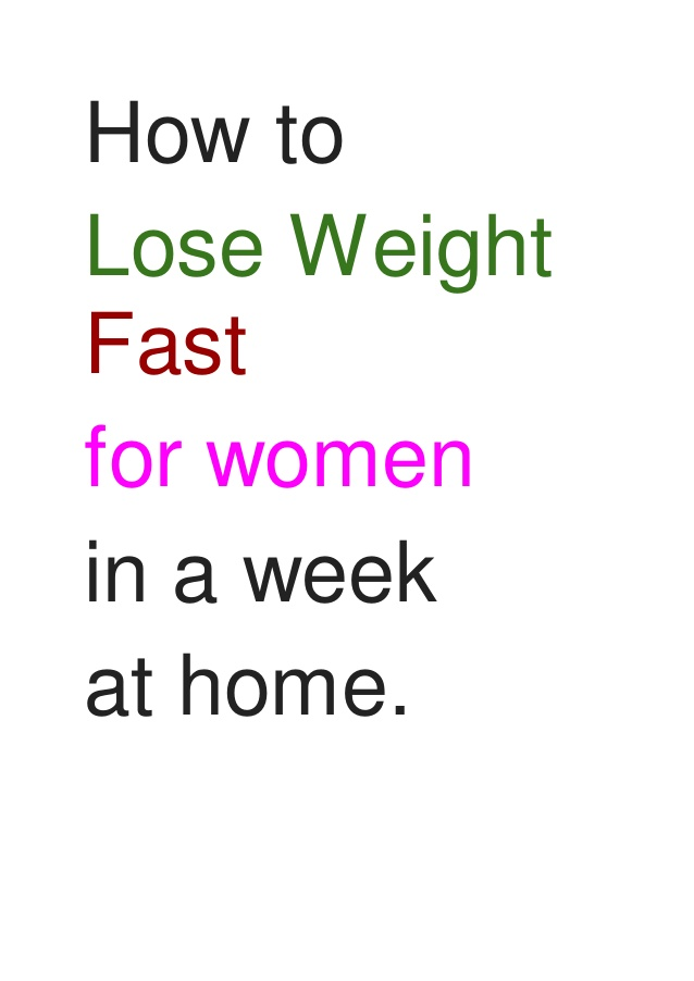 how to lose weight fast at home in a week photo - 1