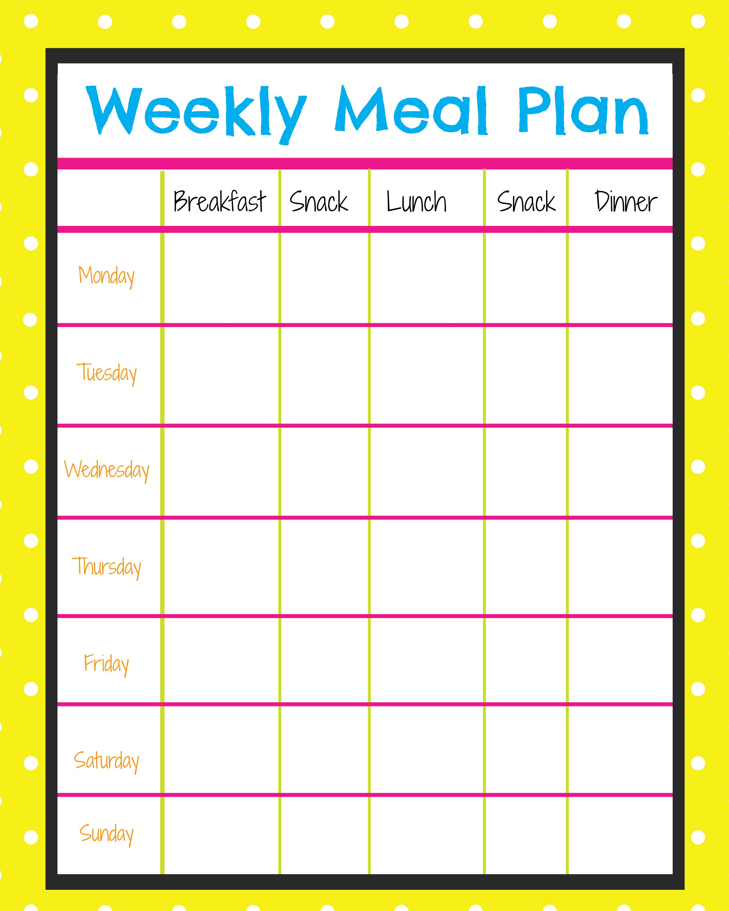 weekly food planner to lose weight photo - 1